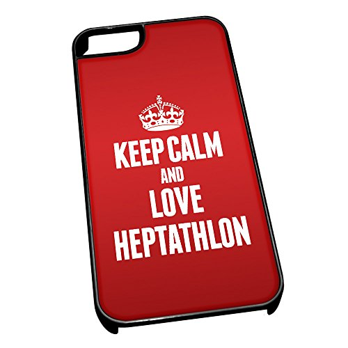 Nero cover per iPhone 5/5S 1766Red Keep Calm and Love Heptathlon