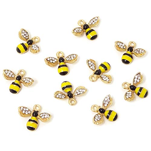 Honbay 10PCS Enamel Bee Charm Pendants with Crystal for Jewelry Making or DIY Crafts