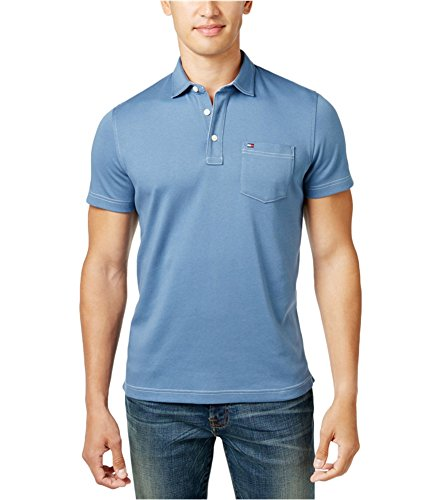 Tommy Hilfiger Mens Solid Rugby Polo Shirt Blue -