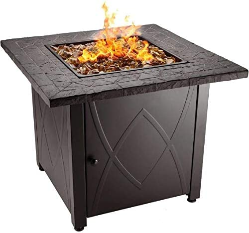 Endless Summer 30″ Outdoor Propane Gas Fire Pit Table Copper Firegla