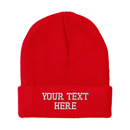 Personalize Your Custom Text On Unisex Adult Acrylic Beanie Skully Hat - Red
