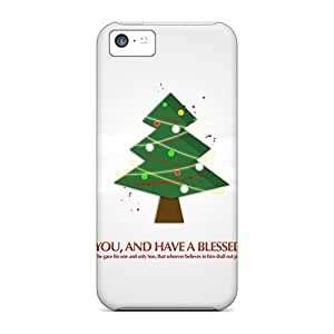 Tpu Fashionable Design Christmas Tree God Bless You Rugged Case Cover For Iphone 5c New