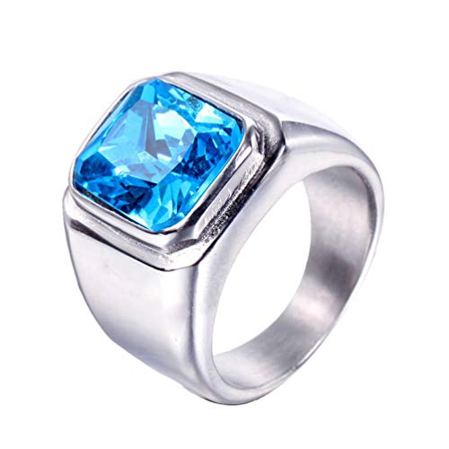 PMTIER Mens Stainless Steel Gold Plated Ring with Square Gemstone Blue Black