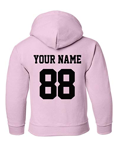 (Custom Hoodies for Youth - Design Your OWN Jersey - Pullover Hooded Team Sweaters Light Pink )
