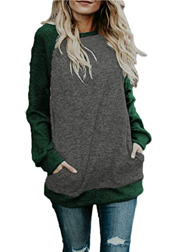 - Long Sleeve Womens Shirts Tops Winter Cotton Knit Pullover Sweater Junior Clothes Green XXL