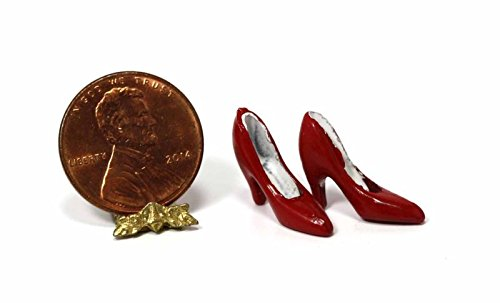- Dollhouse Miniature Pair of Red High Heel Ladies Shoes