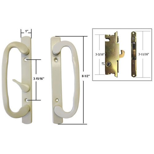STB Sliding Glass Patio Door Handle Set with Mortise Lock, Beige, Non-Keyed, 3-15/16