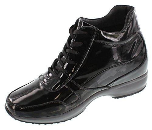 Calto G65230-3.2 Inches Groter - In Hoogte Toenemende Liftschoenen - Zwarte Lakleren Laarzen