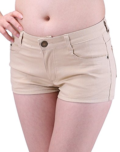 HDE Women's Solid Color Ultra Stretch Fitted Low Rise Moleton Denim Booty Shorts (Khaki, Small) (Rise Womens The Shorts Short On)