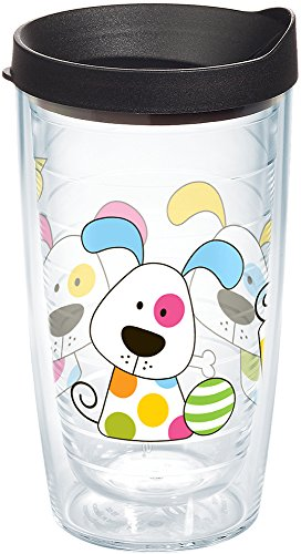 Tervis 1081141 Polka Dot Dog Insulated Tumbler with Wrap and Black Lid, 16oz, Clear