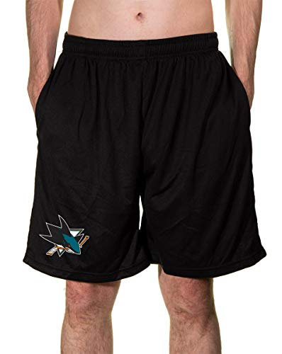 NHL Men's Team Logo Air Mesh Shorts (San Jose Sharks, X-Large)