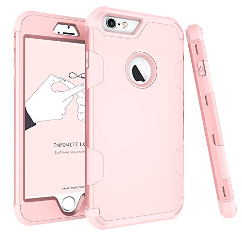 AOKER Three Layer Heavy Duty High Impact Resistant Hybrid Protective Case For iPhone 6 Plus and iPhone 6s Plus5.5 inch Hybrid Hard Back Cover and Soft Silicone- (Rose golden) ()