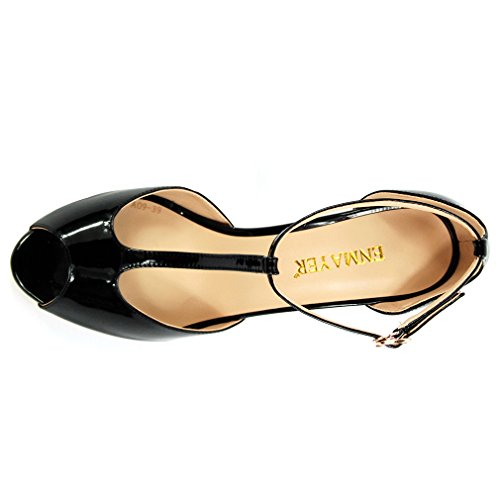 ENMAYER Womens Patent Leather T-Strap High Heels Peep Toe Buckle Strap Office Lady Shoes Black h7tCRU