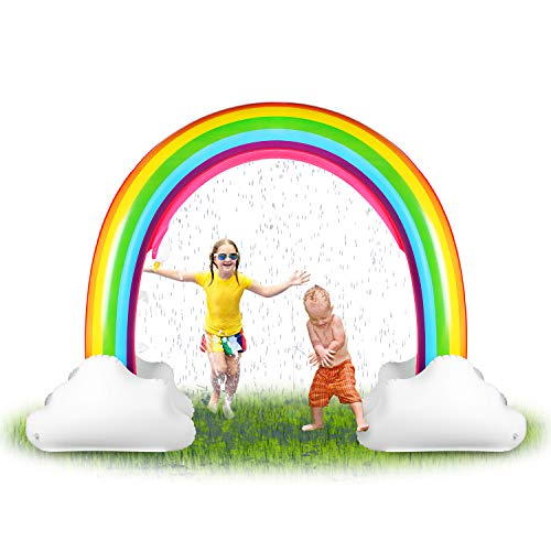 SainSmart Jr. Inflatable Rainbow Sprinkler Backyard Games Summer Outside Water Toy, Yard Fun for Kids with Over 6 Feet Long Giant Sprinkler