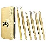Best 6Pcs Eyelash Extension Russian Volume Tweezers Set with Golden Magnetic Kit