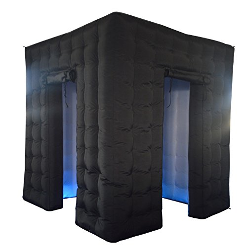 Enclosure Photo (Inflatable Photo Booth Frame Black Photo Booth Enclosure with Air Blower for Wedding Party Events,8.2ftx8.2ftx8.2ft, 2 Doors)