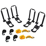 AA-Racks 2 Pair J-Bar Rack Roof Top Mount with 8 Ft Lashing Straps Tie Down Ratchet,Folding Carrier for Your Canoe, SUP and Kayaks on SUV Car Truck