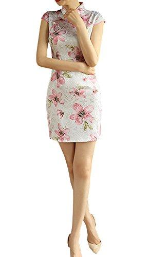 豊富に醸造所講義XueXian(TM) レディース チャイナドレス 半袖 花柄 チャイナ服 チャイナボダン 披露宴 演奏会 発表会 二次会
