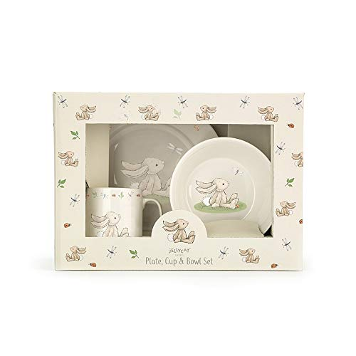 Jellycat Bashful Beige Bunny Bowl, Cup, and Plate 3 Piece Gift Set