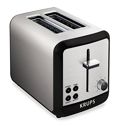 KRUPS KH3110 SAVOY  Brushed Stainless Steel Toaster with Bagel Function and Wide Slots, 2-Slice, Silver