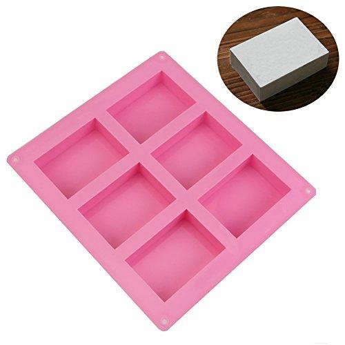 AllforhomeTM 6 Hohlraum Plain Grund Rechteck Seife DIY Mold-Silikon-Form für Hausgemachte Handwerk