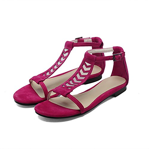 AllhqFashion Women's Solid Imitated Suede Low-heels Open Toe Buckle Sandals RoseRed TSJmEG2eS3