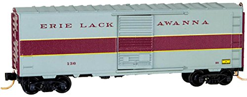 Micro-Trains MTL N-Scale 40' Box Car Erie Lackawanna/EL Gray/Burgundy #136 - Lackawanna Boxcar