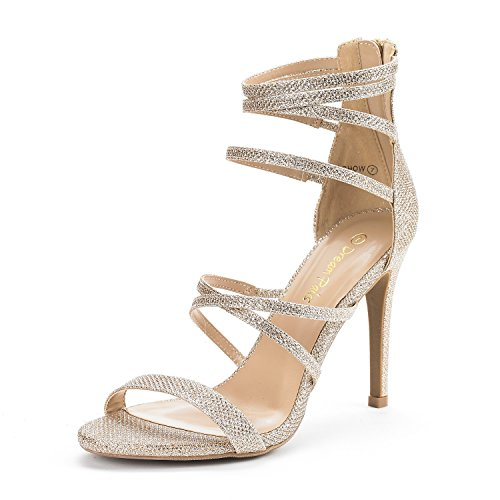 Gold High Heel Pump (Dream Pairs Women's Show Gold Glitter High Heel Dress Pump Sandals - 7.5 M US)