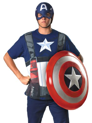 Superhero Captian America Costume T-Shirt and Mask Easy Theatrical Mens Costume Sizes: XX-Large