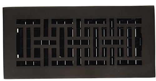 Solid Brass Wall Register - Decor Grates AJ410-RB 4-Inch by 10-Inch Oriental Floor Register, Solid Brass with Rubbed Bronze Finish