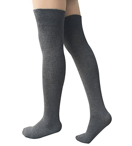 3 Pairs Womens Over the Knee Thigh High Socks Cotton Stockings by Chalier