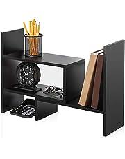 FITUEYES Desktop Bookshelf Adjustable Countertop Bookcase Office Supplies Wood Desk Organizer Accessories Display Rack, DT306801WB