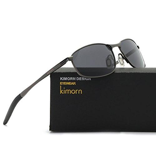 Rectangulares Gris amp;negro sol de kimorn Retro Hombre Polarizado K0535 Gafas Marco metal Yqf7H