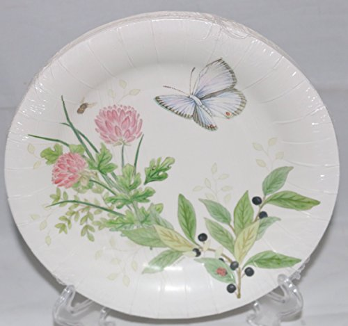 Lenox Butterfly Meadow Pink 16 Coated Luncheon / Dessert Paper Plates ()