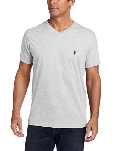 U.S. Polo Assn. Men's V-Neck T-Shirt with Small Pony, Heather Light Gray, Large