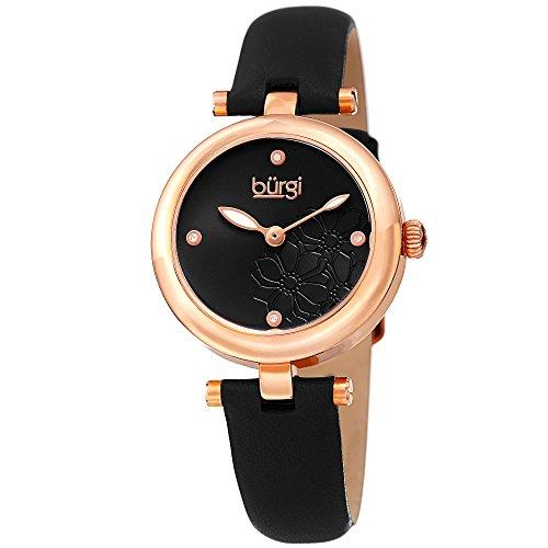 Diamond Gold Dial Black (Burgi Women's BUR197BKR Diamond Accented Flower Dial Rose Gold & Black Leather Strap Watch)