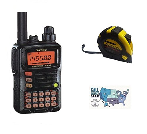 Bundle - 3 Items - Includes Yaeus VX-6R Multi-Band 2M/70CM 5W 220 1.5W Handheld Radio with the New Radiowavz Antenna Tape (2m - 30m) and HAM Guides Quick Reference Card