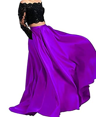 BessDress Two Piece Long Sleeves Evening Dresses Off The Shoulder Prom Ball Gown BD414
