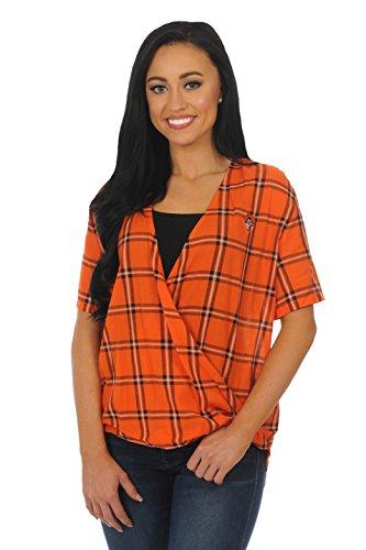 Oklahoma Ladies T-shirt - UG Apparel NCAA Oklahoma State Cowboys Adult Women Short Sleeve Plaid, Small, Orange/Black