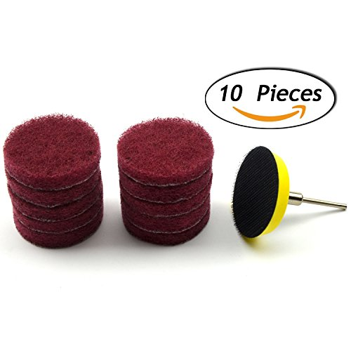 2 Inch (50mm) Abrasive Buffing Polishing Wheel Set Round Hook and Loop Commercial Scouring Pad with a 3.17mm Shank Sanding Pad for Power Rotary Tools, 10-Pack