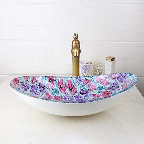 ERGOUZI Glass Oval Wash Basin Bathroom Sink Retro Brass Faucet Set with Drain
