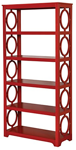 Furniture of America Halle O-Ring Panel Display Case Contemporary Style - Red