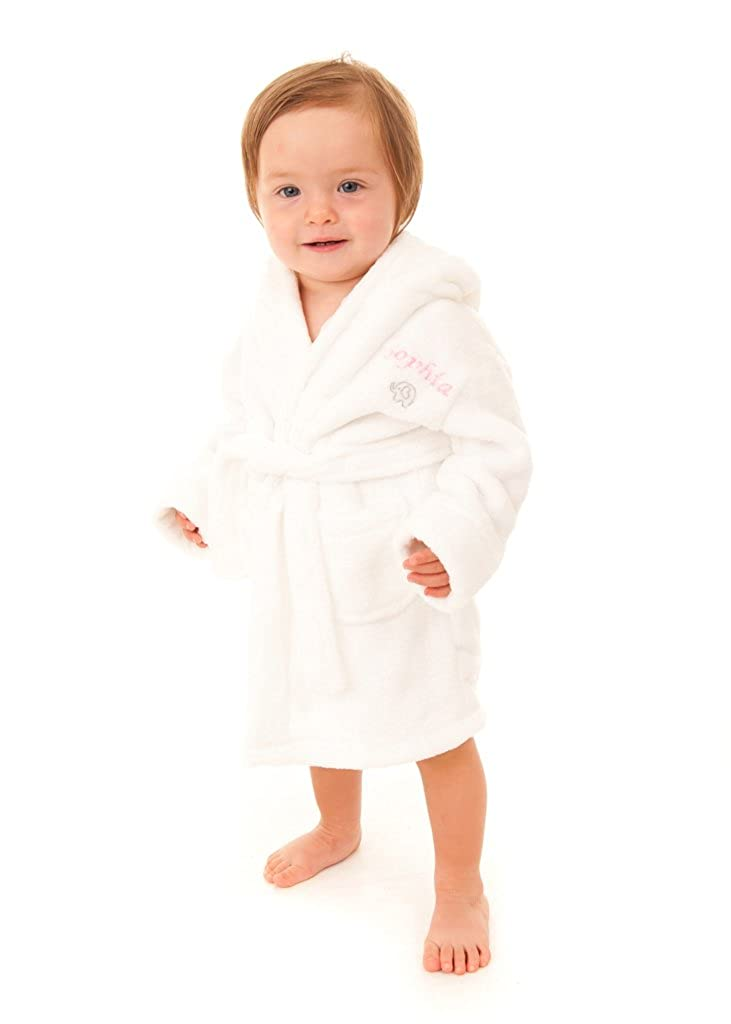Embroidered Personalised Soft Baby White Dressing Gown Bath Robe with Teddy  Ears 18-24 Pink or Blue Text  Amazon.co.uk  Clothing 60a4055f5