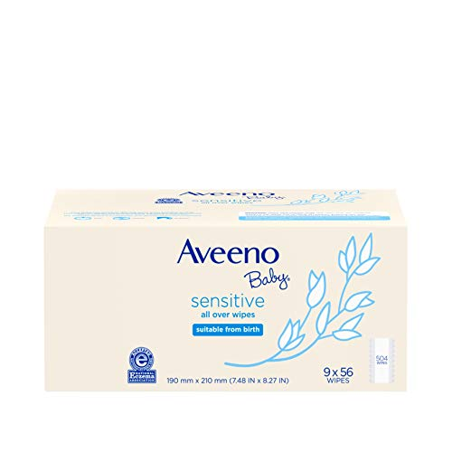 Aveeno Baby Sensitive All Over Wipes, Hypoallergenic & Fragrance-Free, 9 Pack of 56 Ct, 504Count