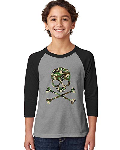 - SpiritForged Apparel Camo Skull and Crossbones Youth 3/4 Raglan Shirt, Black/Heather Medium