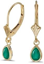 14k Yellow Gold Pear Emerald Bezel Lever-back Earrings