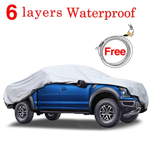 """KAKIT 6 Layers Truck Cover - Windproof Waterproof All Weather, for Summer Outdoor, UV Protection, Universal Fit Car Covers for Truck Pickup, Windproof Ribbon & Anti-theft Lock, Fits up to 242"""""""