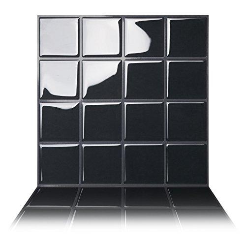 Tic Tac Tiles - Premium Anti Mold Peel and Stick Wall Tile in Big Square Black (1, Black) ()