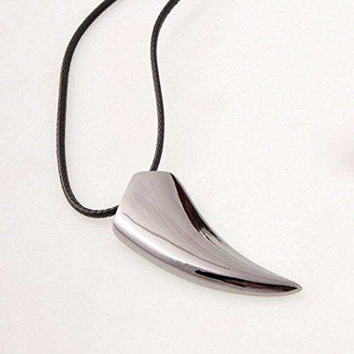 Angelof Acier Inoxydable Wolf Dent Collier Pendentif Colliers Bijoux (50cm )