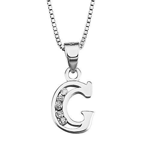 YFN Initial G Pendant Necklace in Sterling Silver with Cubic Zirconial 26 Letter Alphabet Jewelry for Women Teen Girl